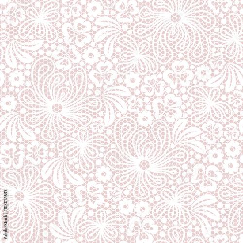 Valokuva  Seamless white lace on pink background