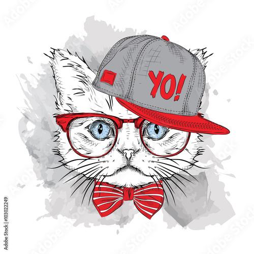 Poster Croquis dessinés à la main des animaux The poster with the image cat portrait in hip-hop hat. Vector illustration.