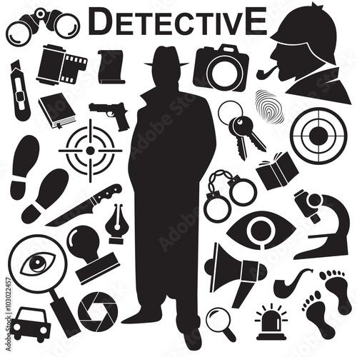 Fotografía  Detective vector icon set.