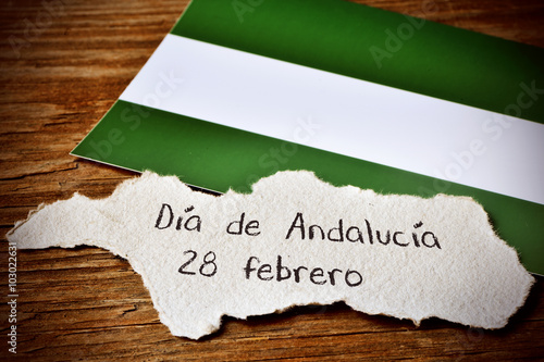 text Dia de Andalucia, Day of Andalusia, in Spain