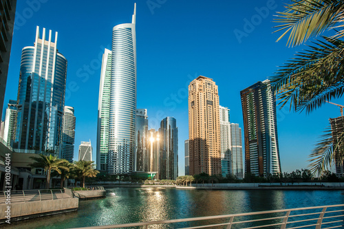 Tuinposter Dubai Jumeirah Lakes Towers in Dubai, United Arab Emirates