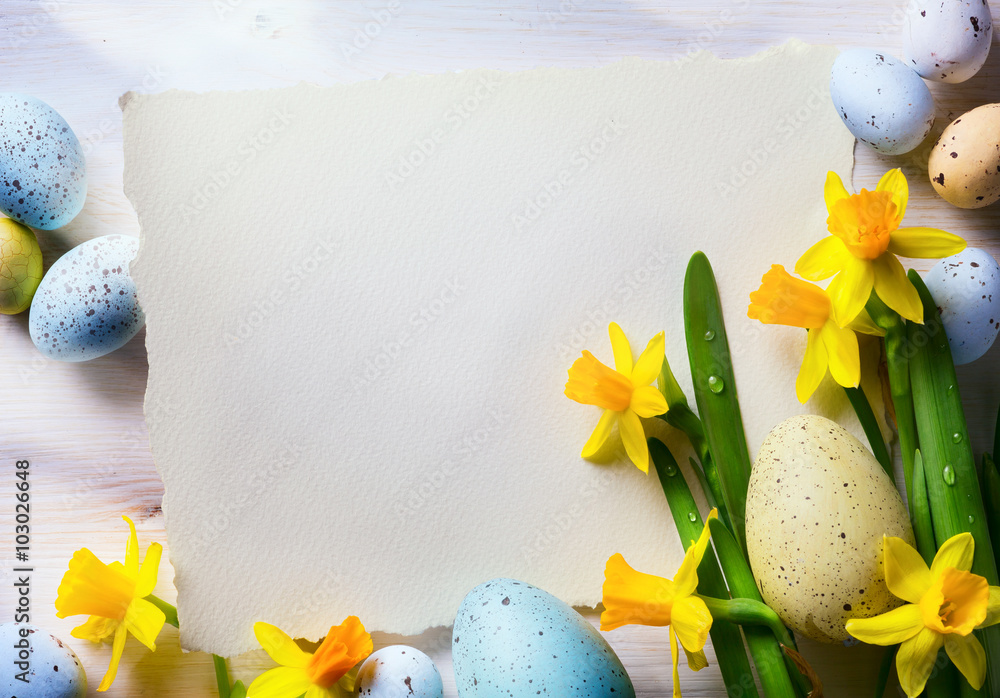 Art Easter Background With Easter Eggs And Spring Flowers Foto