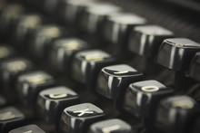 Close Up Of Lettered Keys On An Old Typewriter. Vintage Filter A