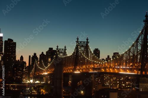 Queensboro Bridge at twilight in New York City Canvas Print