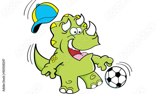 Aluminium Prints Pirates Cartoon illustration of a triceratops playing soccer.