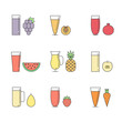 Fruit and vegetable smoothie (juice) in glasses vector concept. Menu element for cafe or restaurant. Healthy drink. Modern outline design. Part two.