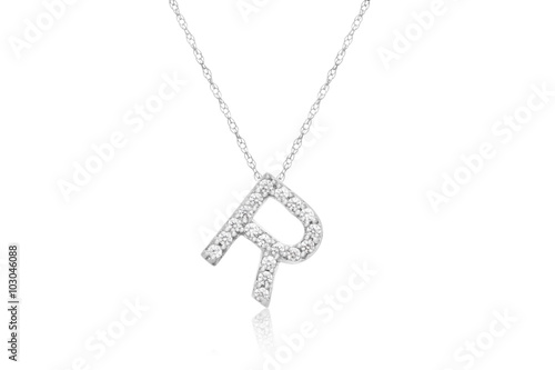 """Photo  Pretty Initial """"R"""" Necklace with Sparkly Diamonds"""