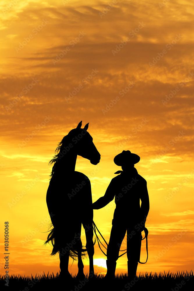 cowboy mit pferd bei sonnenuntergang foto poster wandbilder bei europosters. Black Bedroom Furniture Sets. Home Design Ideas