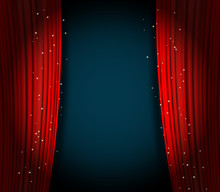 Red Curtains Background With Glittering Stars