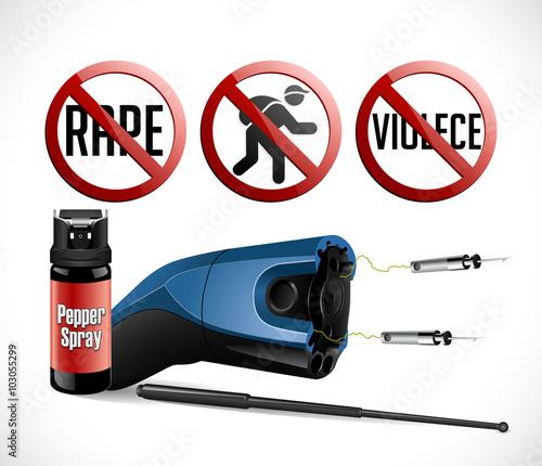 Fotografie, Obraz  Self defense weapons - taser, pepper spray