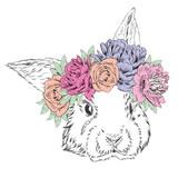Cute rabbit in a wreath of flowers. Rabbit vector. - 103060683