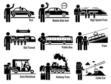 Land Public Transportation Vehicles And People Set - Taxi, Mobile Ride Hail, High Speed Train, Rail Transit, Public Bus, Tram, Auto Rickshaw, Railway Train, And Cable Car