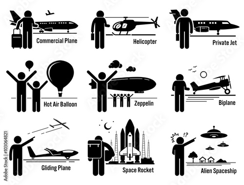 Air Transportation Vehicles And People Set
