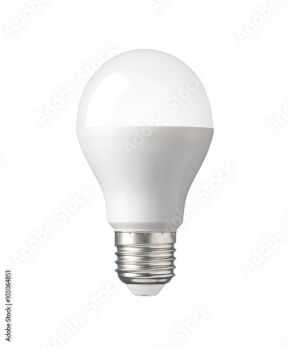 Photo  LED, New technology light bulb isolated on white background, Energy super saving electric lamp is good for environment