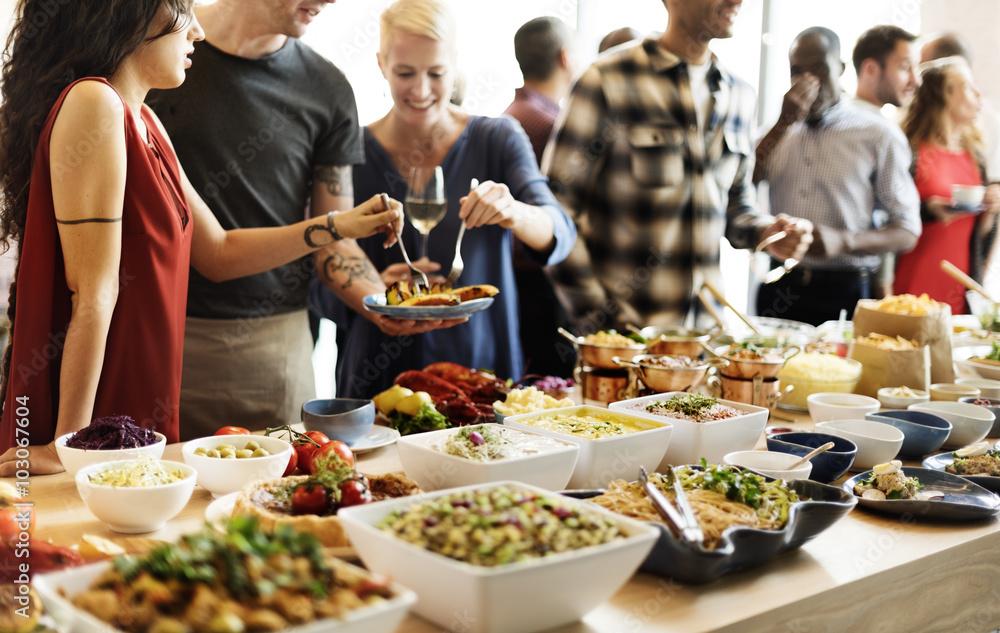Fototapety, obrazy: Buffet Dinner Restaurant Catering Food Concept