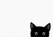 Black Cat Dots Background Vect...