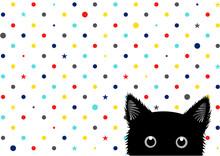 Black Cat Colorful Dots Star B...