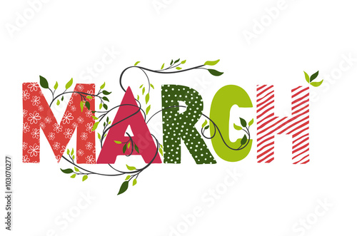 Fotomural March month name.