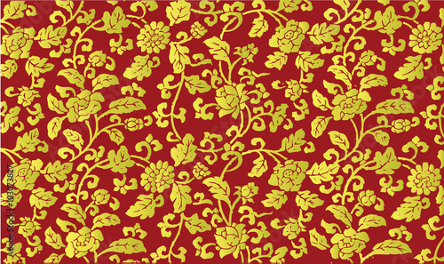 Golden Chinese floral pattern Fotobehang
