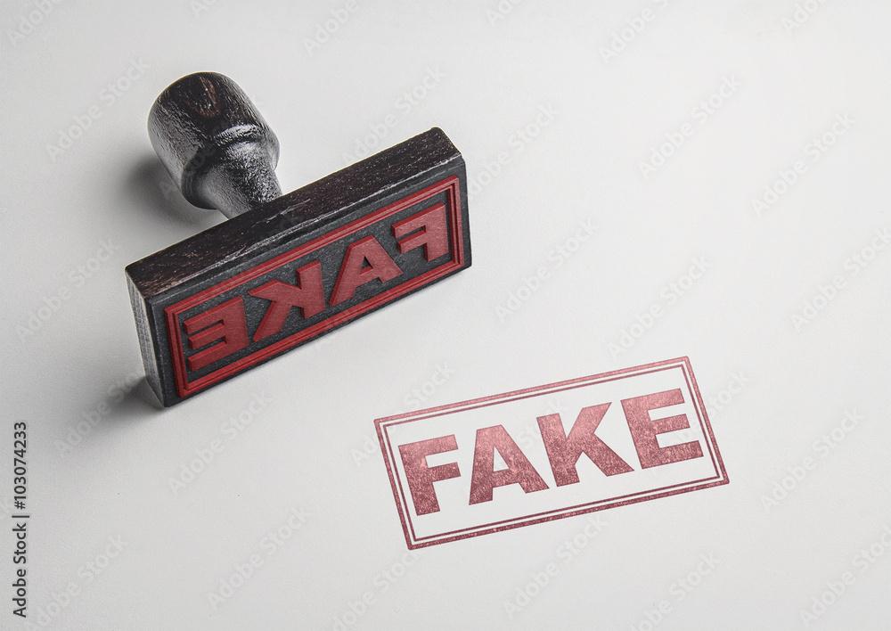 Fényképezés Fake printing red stamp and imprint