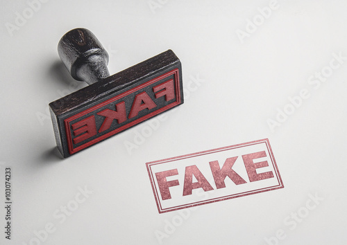 Fotografering  Fake printing red stamp and imprint