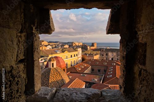 Fototapeta Panoramic view of Cagliari downtown at sunset in Sardinia, Italy