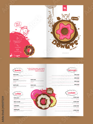 two page brochure template or flyer for bakery buy this stock