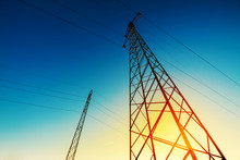 High Voltage Electricity Pylon With Wires, Low Wide Angle View