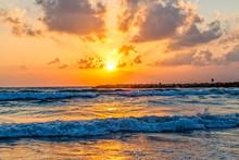 Beautiful Mediterranean Sea Sunset At The Beach In Tel Aviv Israel.