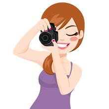 Beautiful Happy Smiling Photographer Woman Taking Photos Using Digital Reflex Camera