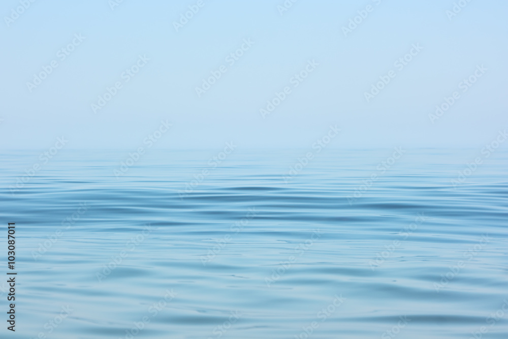 Fototapety, obrazy: Calm sea surface. Seascape in early morning hours under clear skies.