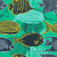 Seamless Pattern With Collection Of Tropical Fish.Vintage Set Of Hand Drawn Marine Fauna.Vector Illustration In Line Art Style.Design For Summer Beach, Decorations.