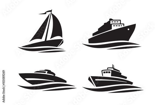czarne statki ikony