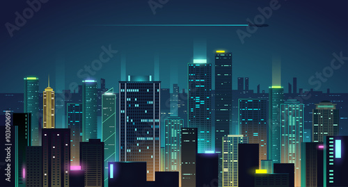 Night city background - 103090691