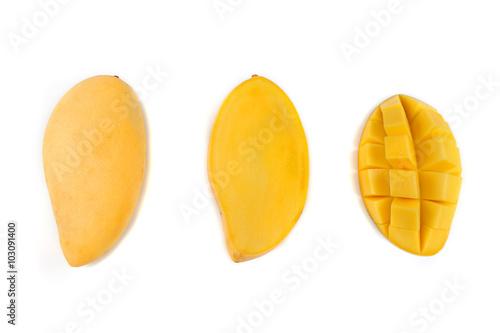 yellow mango slices isolated on white background