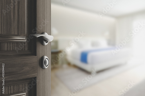Obraz na plátně  Porta camera da letto aperta
