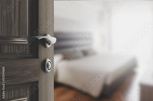 Fotografie, Tablou  Camera da letto porta legno