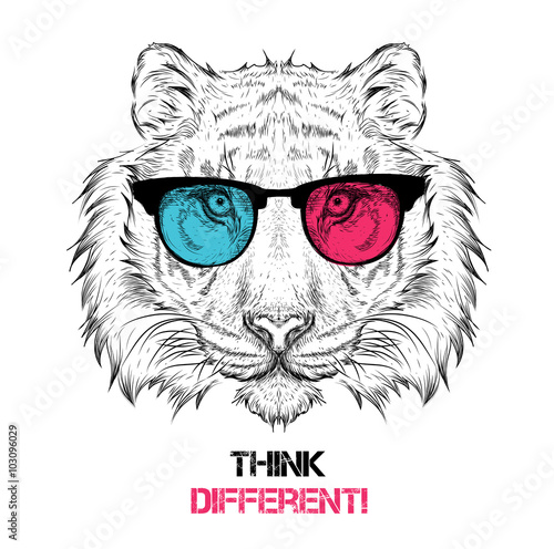 Poster Croquis dessinés à la main des animaux Portrait of the tiger in the colored glasses. Think different. Vector illustration.