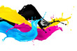 canvas print picture - CMYK wild color splash isolated on white background