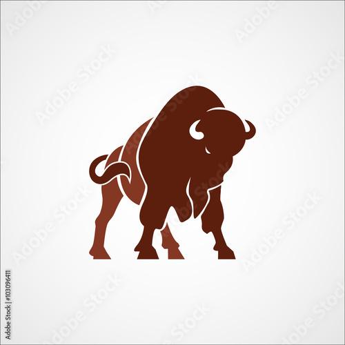 Fotografía bison buffalo logo badge emblem sign isolated