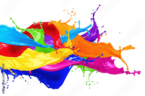 colorful wild color splash isolated on white background Poster