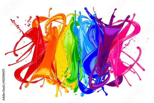 Εκτύπωση καμβά colorful wild rainbow color splash isolated on white background