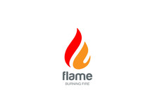Fire Flame Logo Design Vector Drop. Droplet Logotype Icon