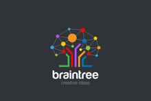 Brain Creative Ideas Logo Social Network Tree Brainstorming Icon