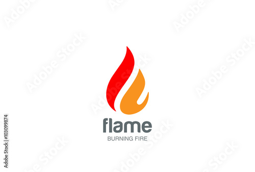 Fototapeta Fire Flame Logo design vector drop. Droplet Logotype icon