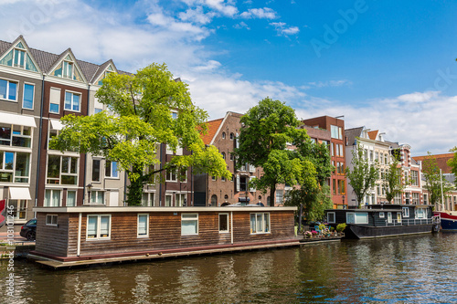 Photo  Amsterdam canals and  boats, Holland, Netherlands.