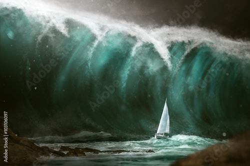 Fotografija Sailboat in front of a tsunami