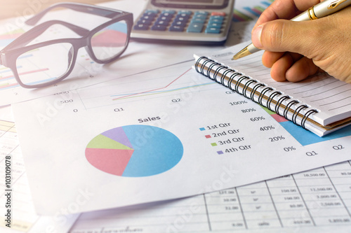 Photo  businessman working on Desk office business financial accounting