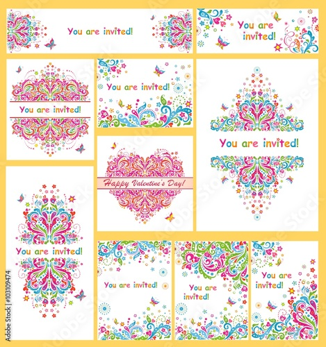 collection of colorful invitations for party buy this stock vector