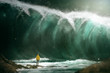 canvas print picture - Man in front of a tsunami